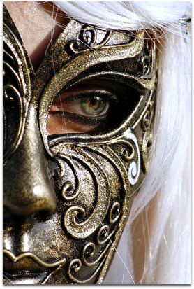 Woman looking out of mask.