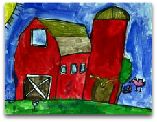 Childrens' drawing of red barn & silo