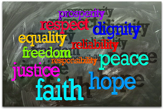Multi-colored words on blackboard: respect, dignity, equality, etc.