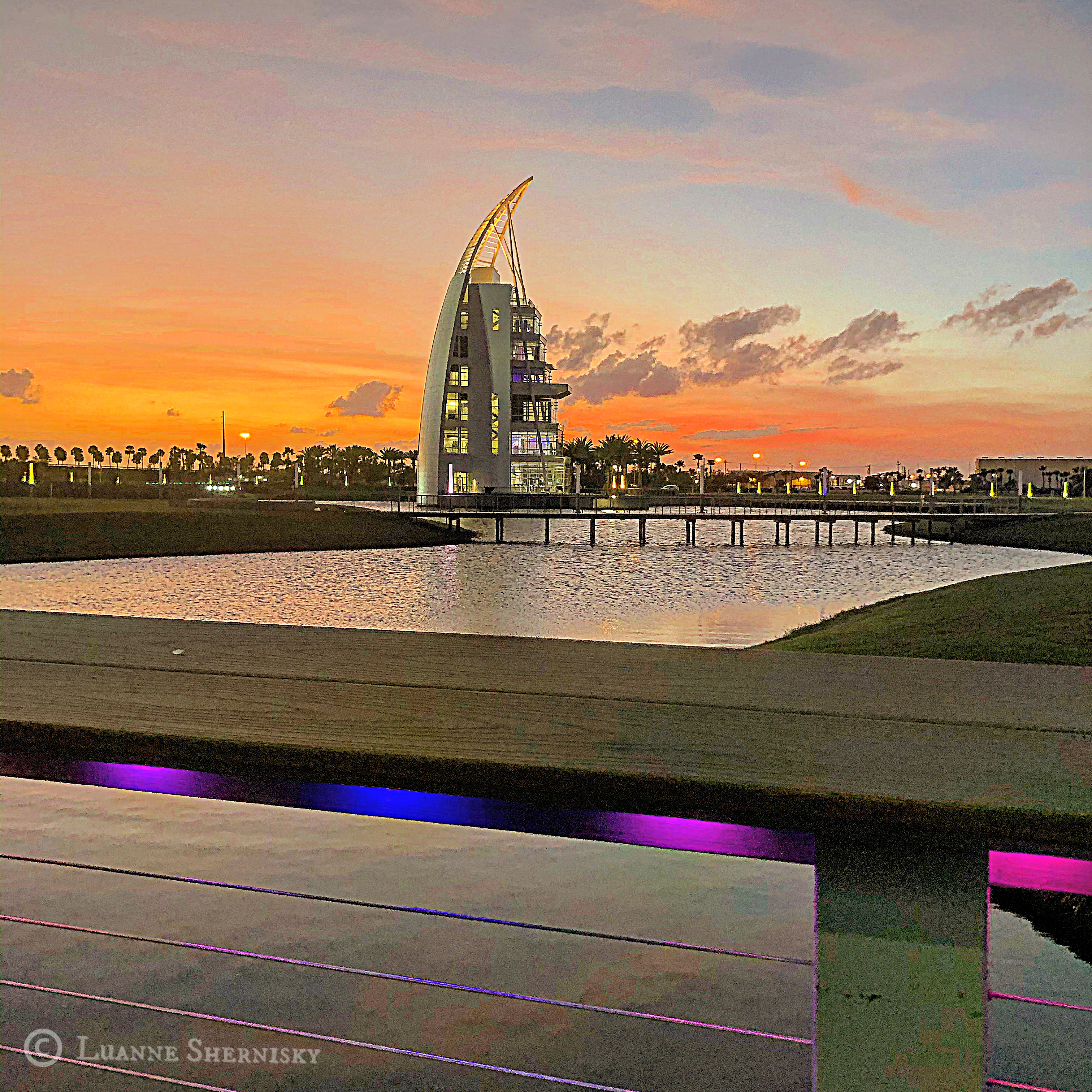 Exploration Tower in Port Canaveral, with beautiful sunset in background.