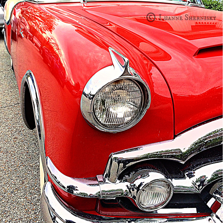 Close up headlight of antique car