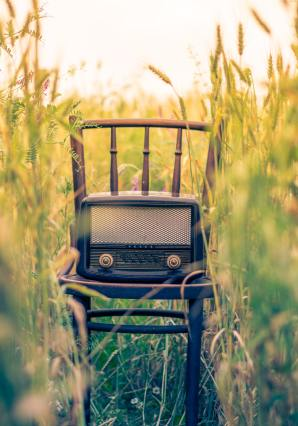 Antique radio on chair in a field to represent music.